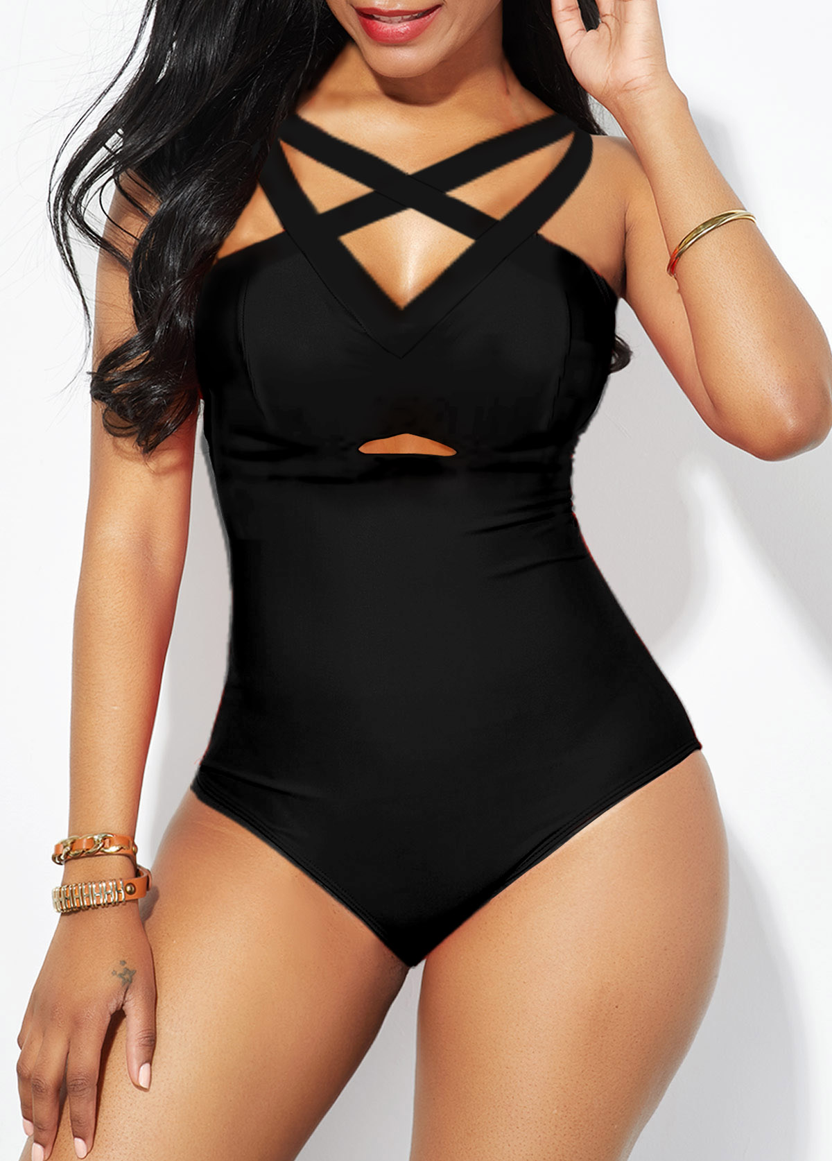 ROTITA Lattice Front Strappy Back One Piece Swimwear