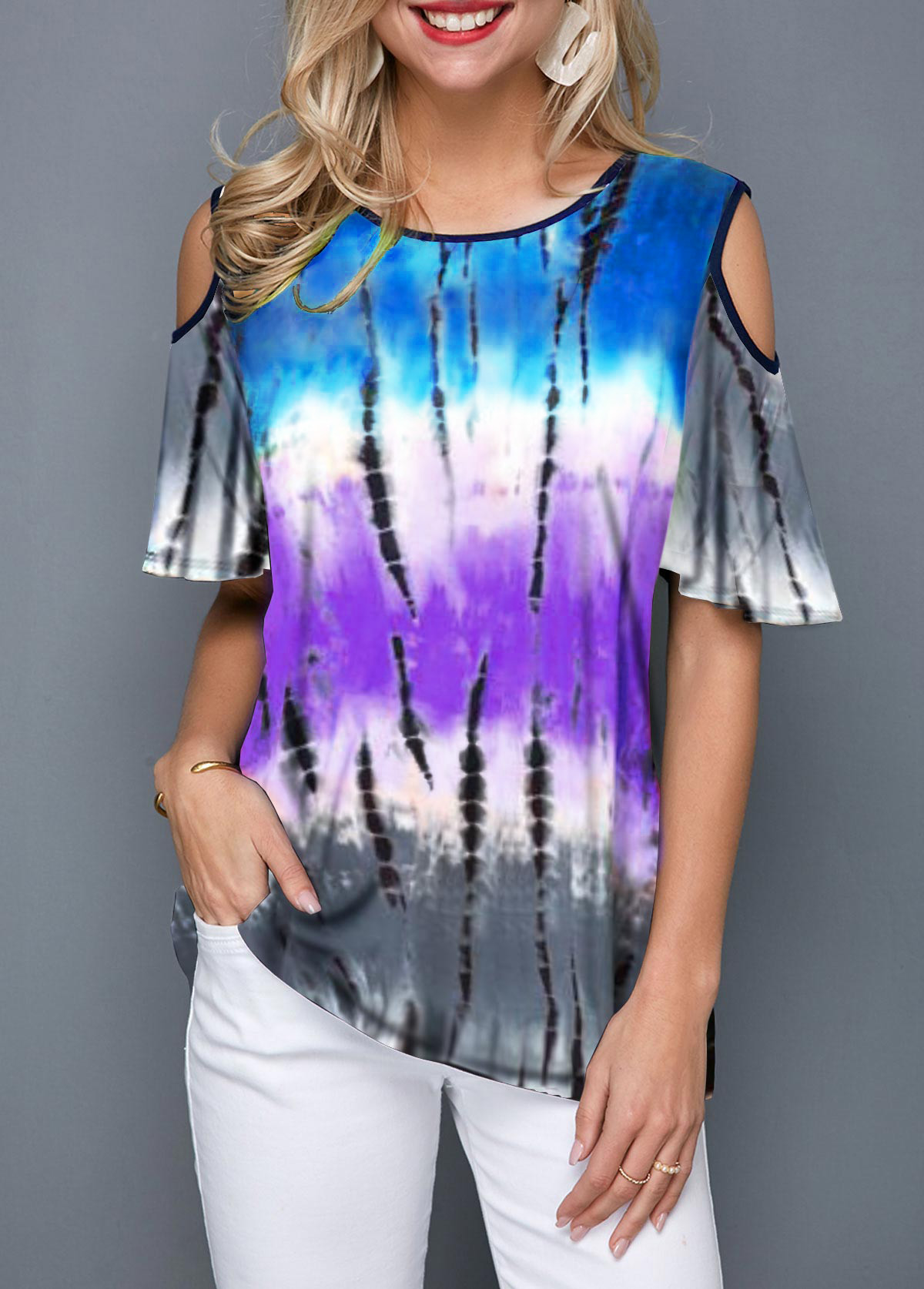 Cold Shoulder Gradient Tie Dye T Shirt
