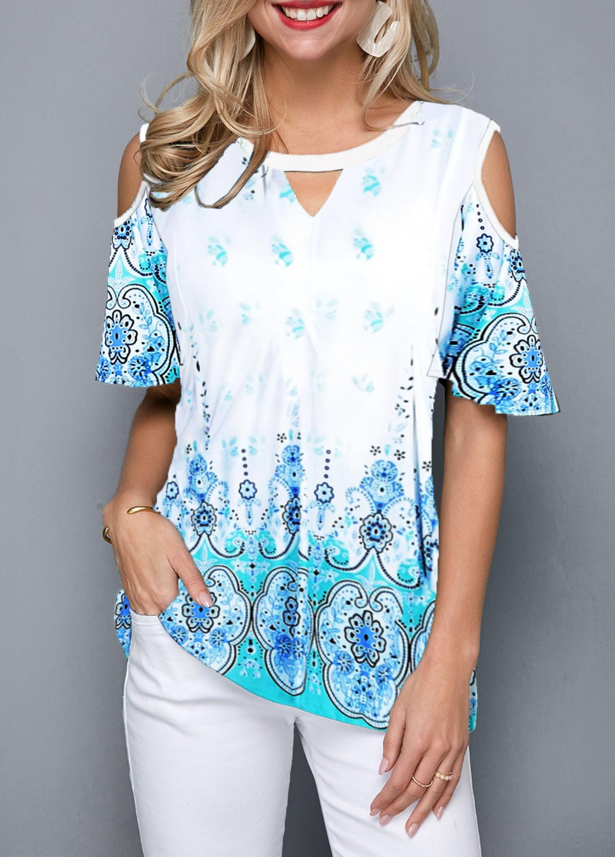 Cold Shoulder Keyhole Neckine Tribal Print Blouse