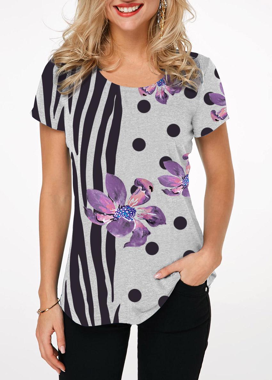 Round Neck Zebra and Dot Print T Shirt