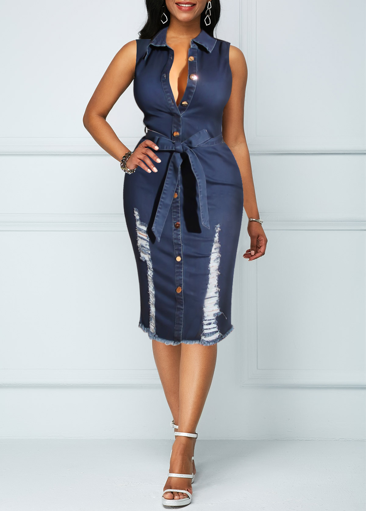 Belted Button Up Sleeveless Denim Dress