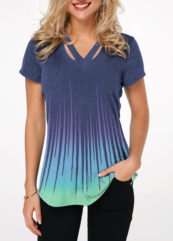 Cutout Neckline Dazzle Color Short Sleeve T Shirt