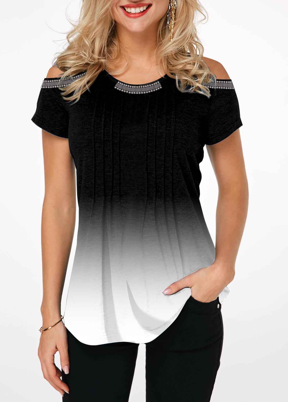 Crinkle Chest Short Sleeve Cold Shoulder T Shirt