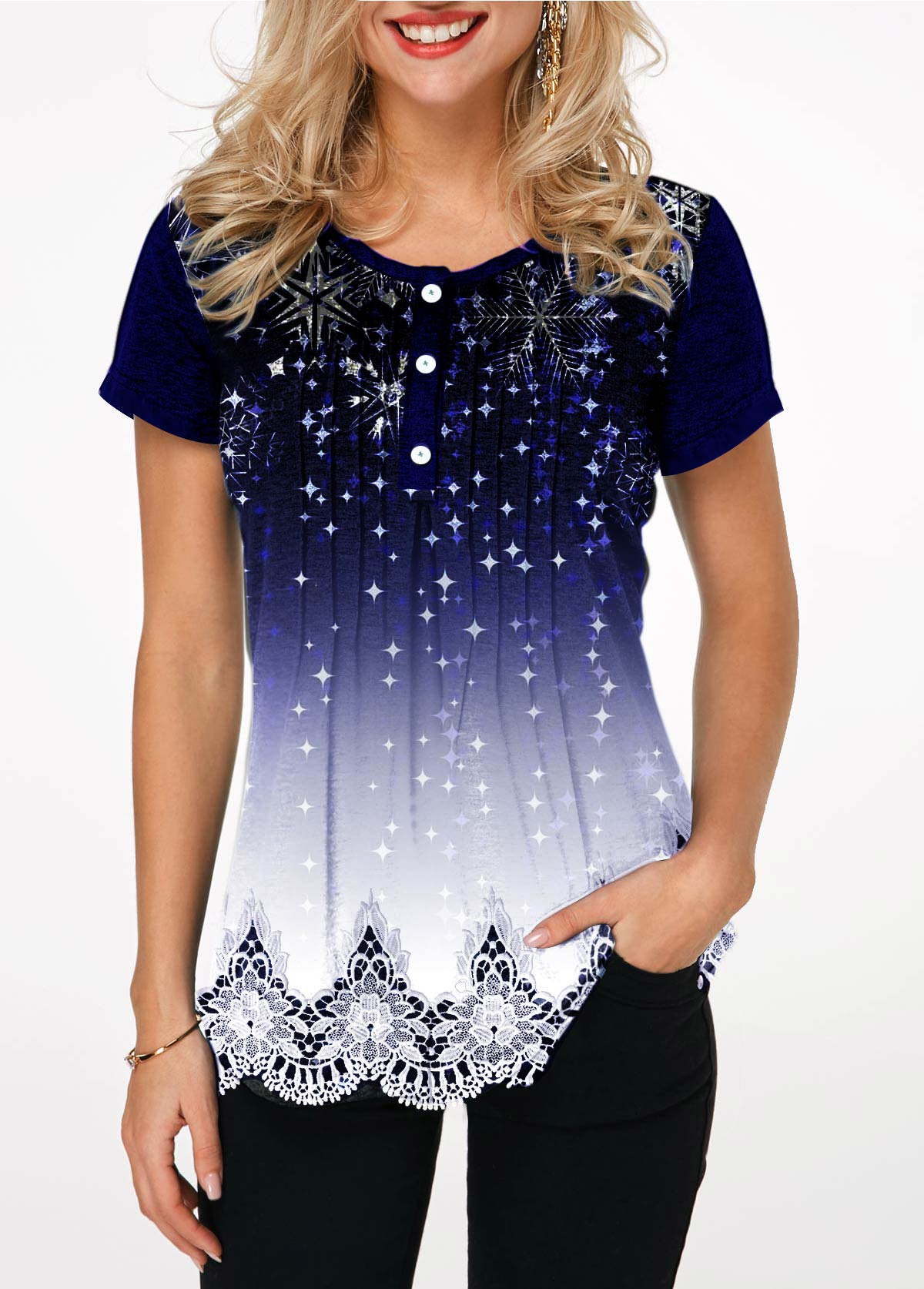 Button Detail Starry Night Print T Shirt