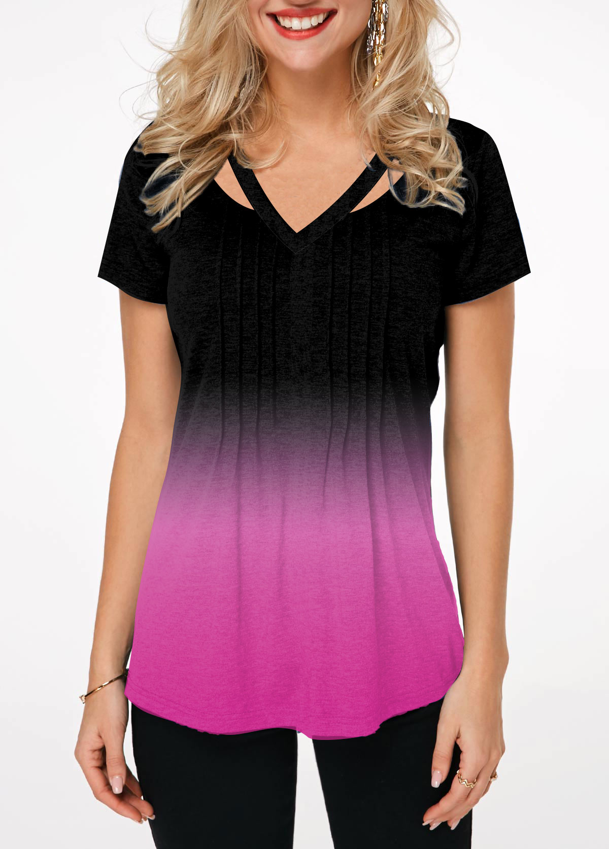 Gradient Embellished Neck Short Sleeve T Shirt