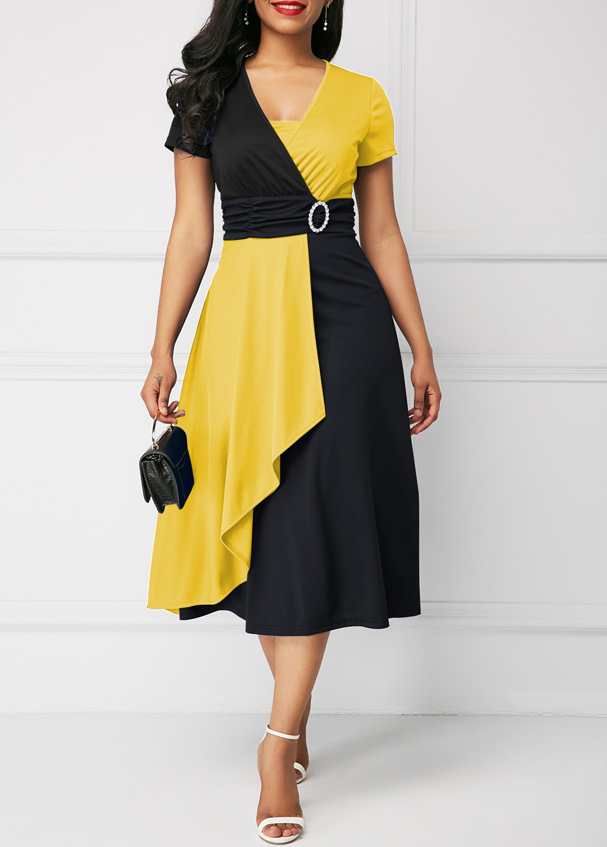 Short Sleeve Color Block Mock Wrap Dress