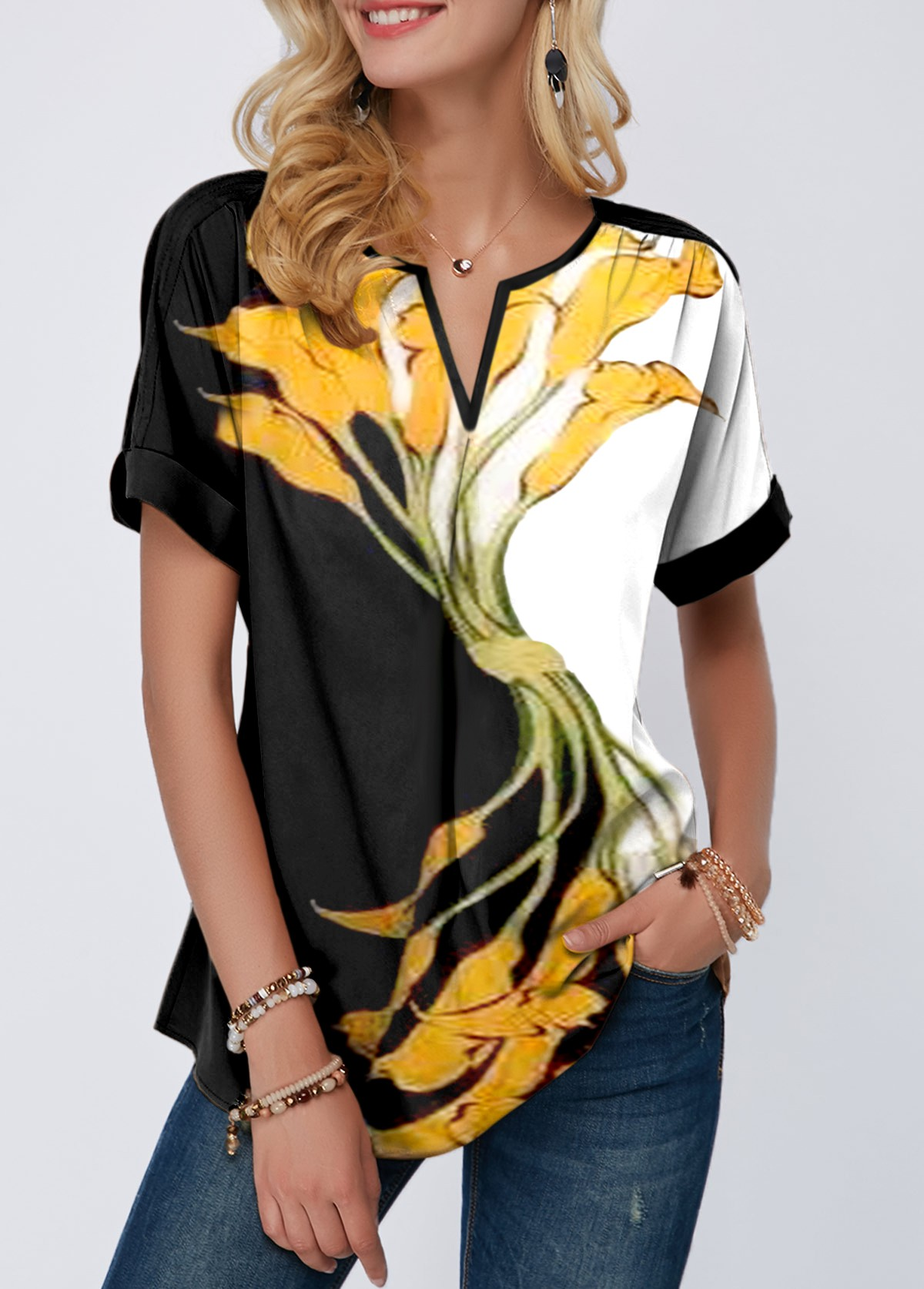 Flower Print Notch Neck Short Sleeve Blouse