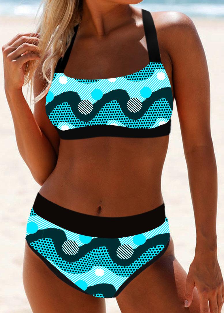 Tie Back Dot Print Bikini Set