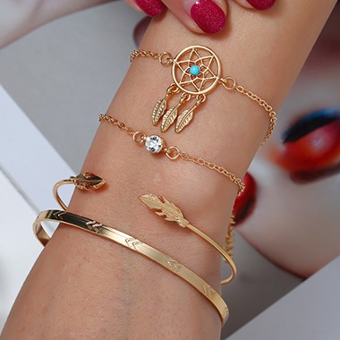 Dream Catcher Design Rhinestone Embellished Bracelet Set