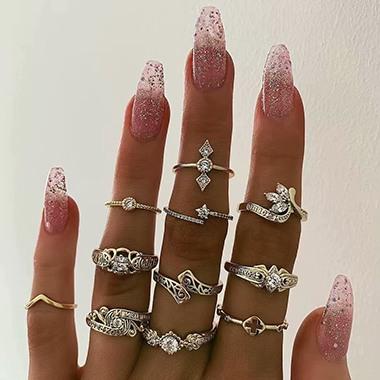 Rhinestone Embellished Gold Metal Ring Set