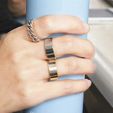 Hollow Design Silver Metal Ring Set