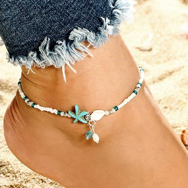 Star Design White Bead Embellished Anklet