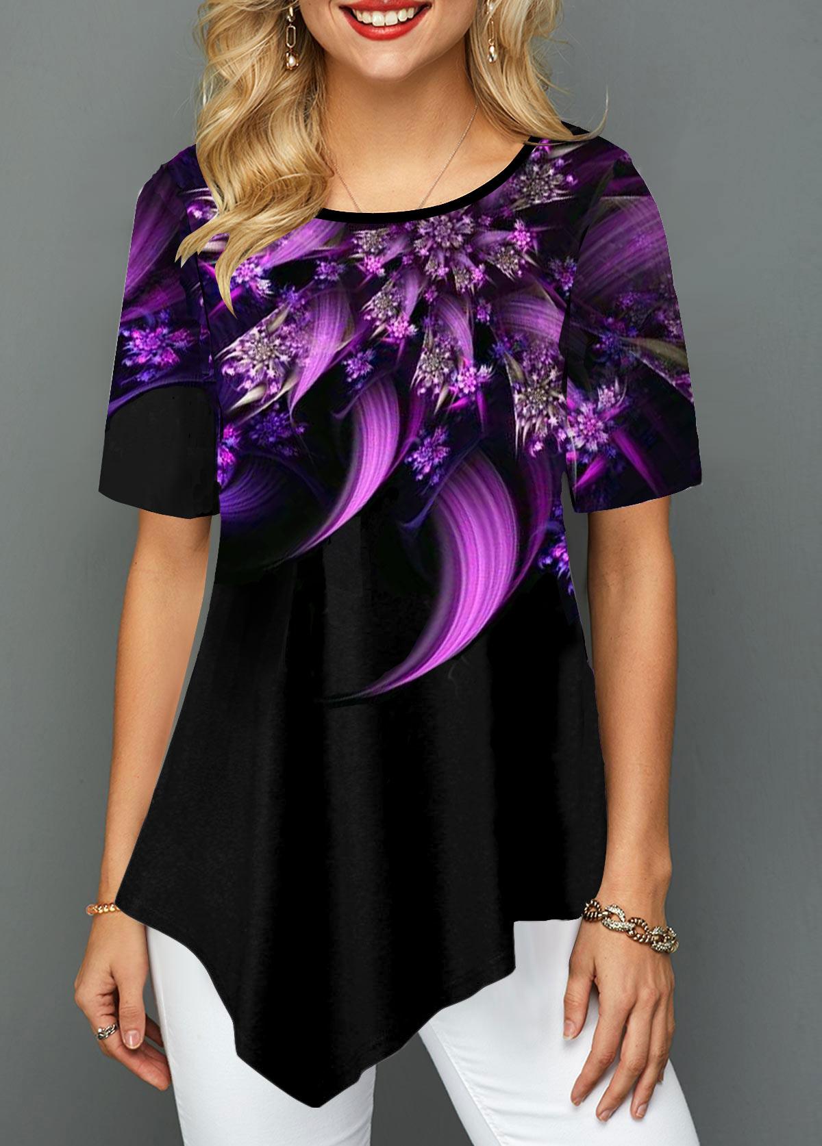 Asymmetric Hem Flower Print Short Sleeve T Shirt