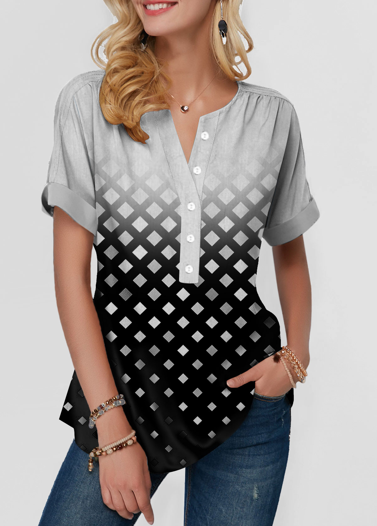 Plaid Print Short Sleeve Button Front Blouse