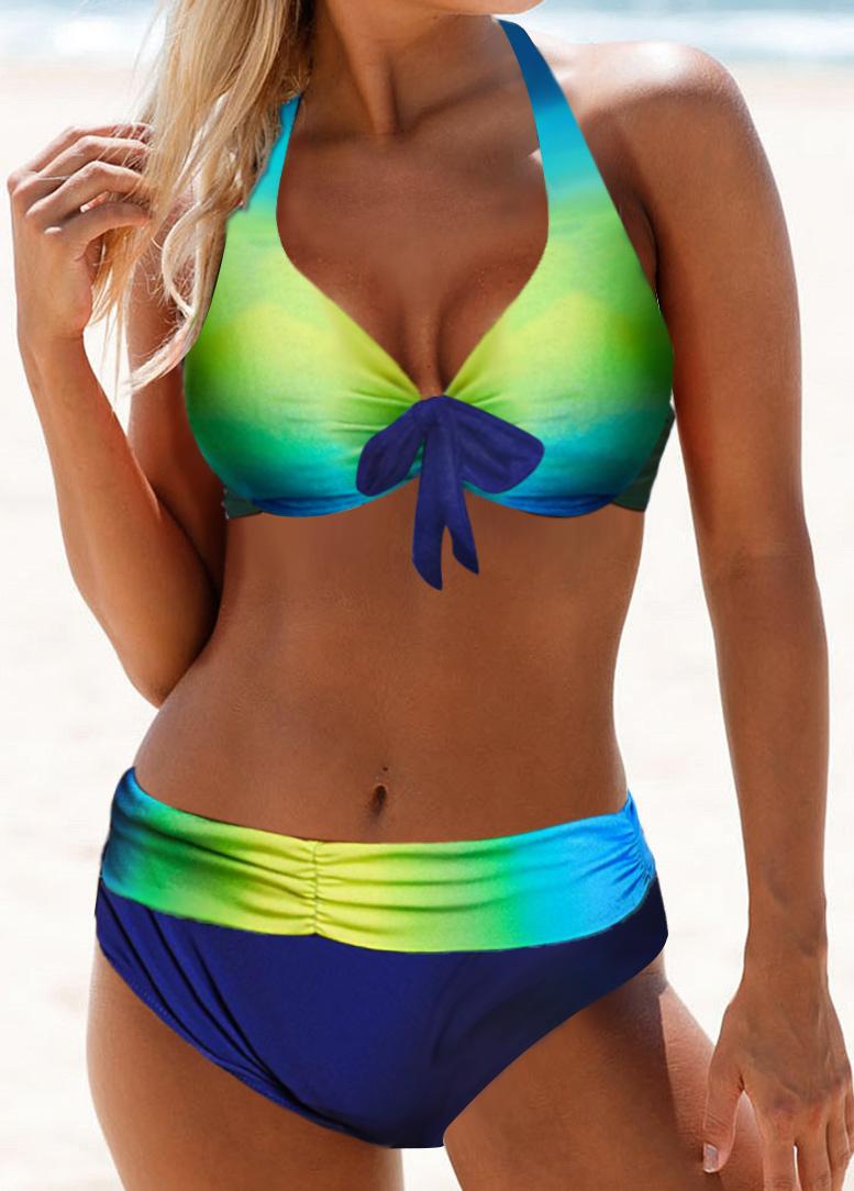 Bowknot Detail Halter Neck Dazzle Color Bikini Set
