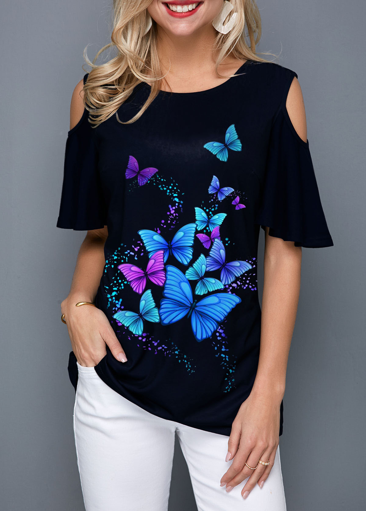 Butterfly Print Round Neck Cold Shoulder Blouse