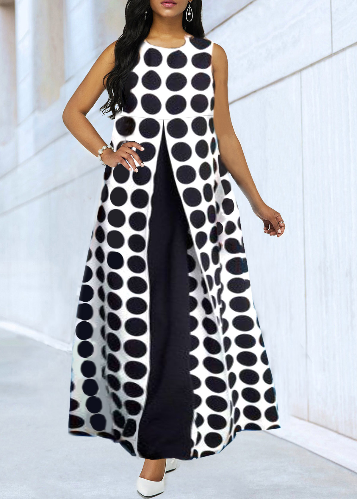 Faux Two Piece Sleeveless Dot Print Maxi Dress