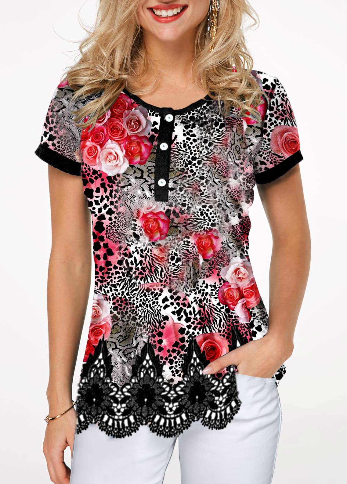 Short Sleeve Scalloped Hem Leopard Print T Shirt