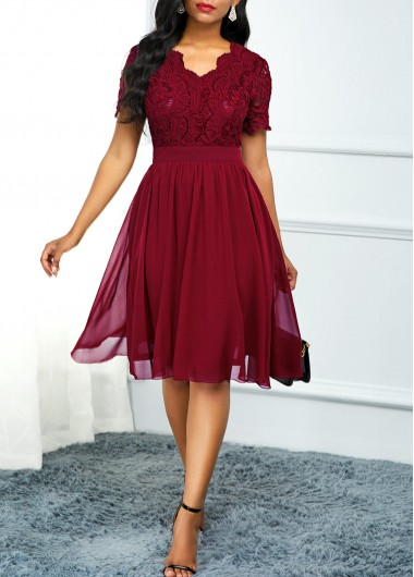 Sleeve   Short   Dress   High   Lace