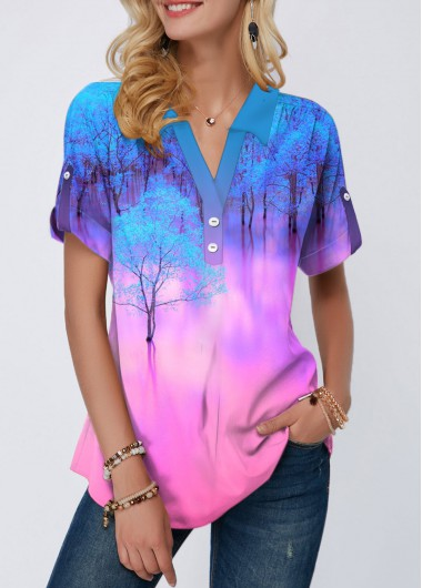 Roll Tab Sleeve Printed Button Detail Blouse