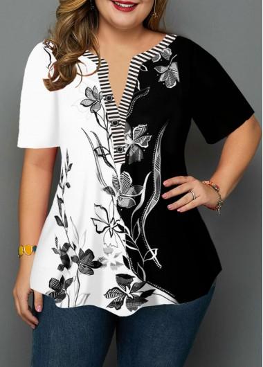 Plus Size Flower Print Split Neck Blouse