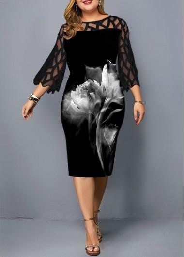 Plus Size Lace Panel Flower Print Sheath Dress