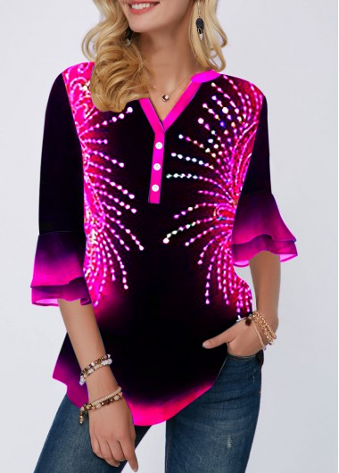Split Neck Flare Cuff Button Detail Printed Blouse