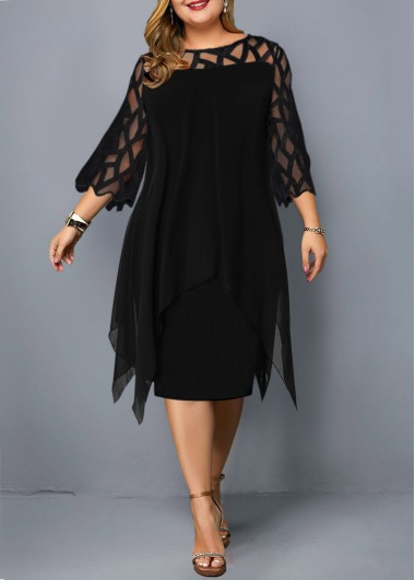 Mesh Panel Round Neck Layered Plus Size Dress