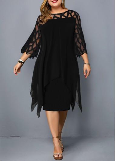 Mesh Panel Round Neck Layered Plus Size Dress