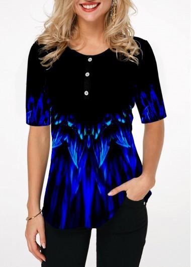 Round Neck Button Detail Printed T Shirt