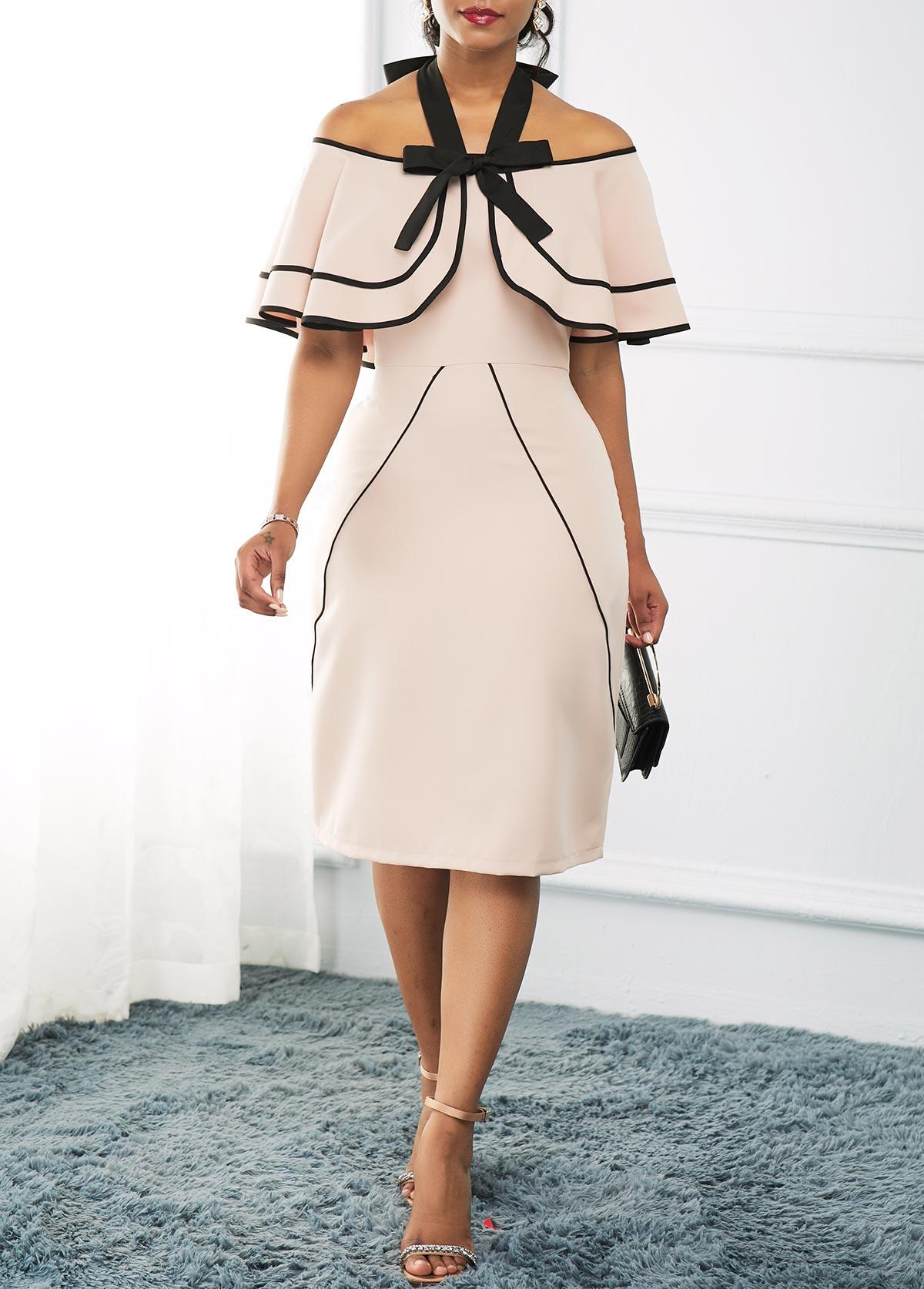Halter High Waist Overlay Embellished Dress