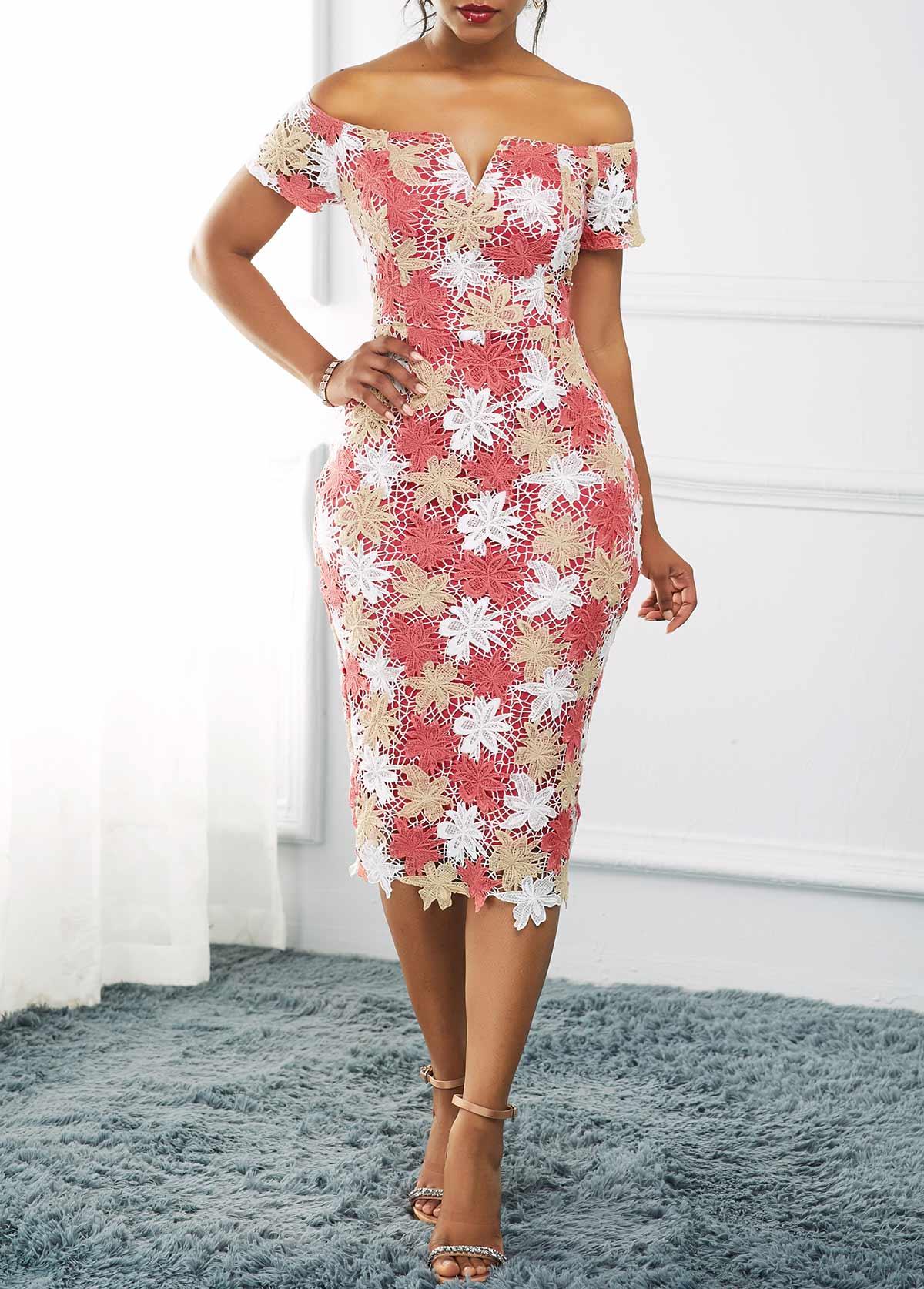 Split Neck Off the Shoulder Lace Dress