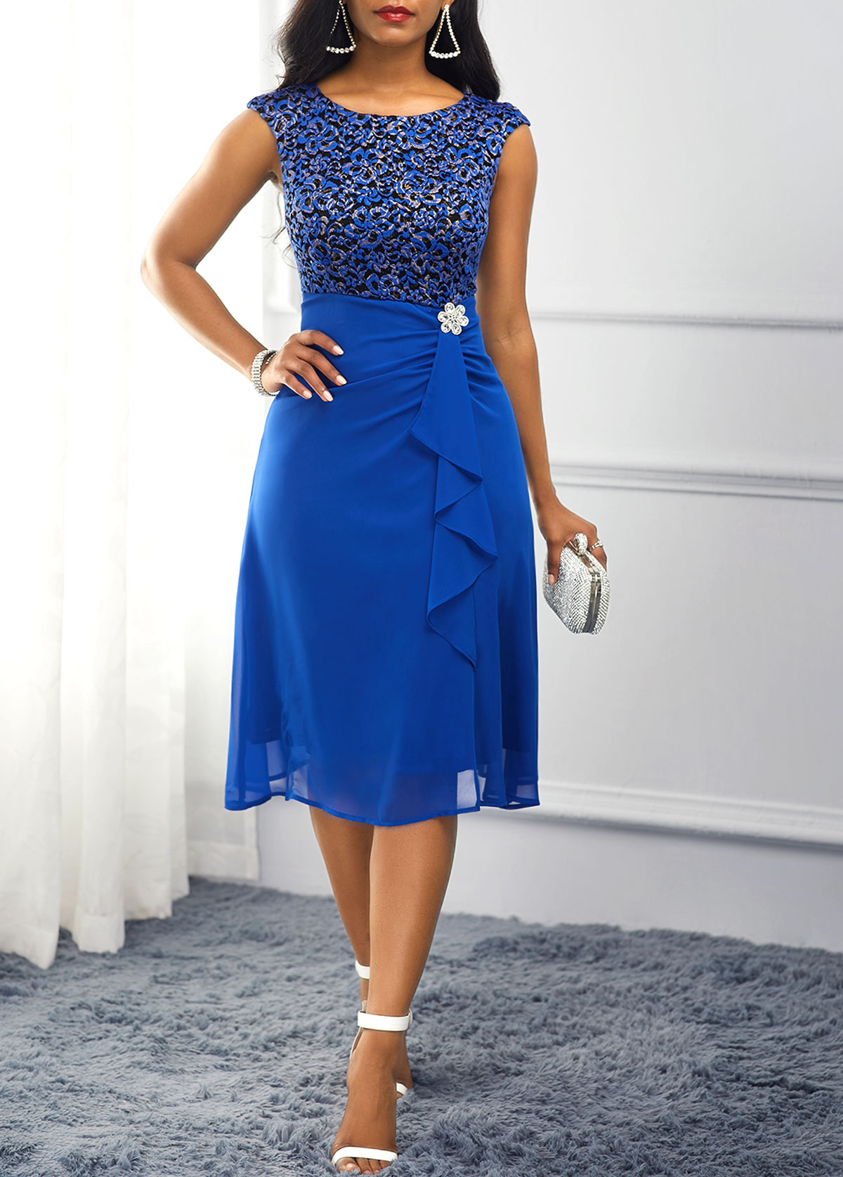 Royal Blue High Waist Rhinestone Embellished Dress