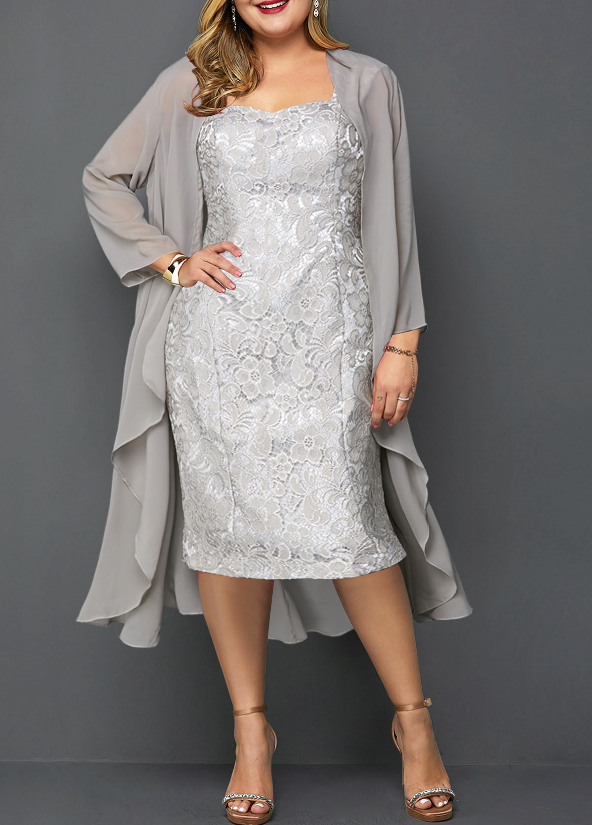 Plus Size Chiffon Cardigan and Lace Sleeveless Dress