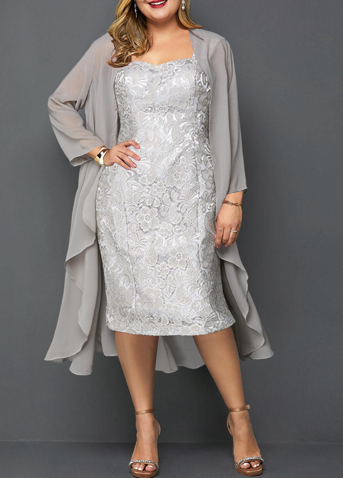 Plus Size Chiffon Cardigan and Lace Sleeveless Dress