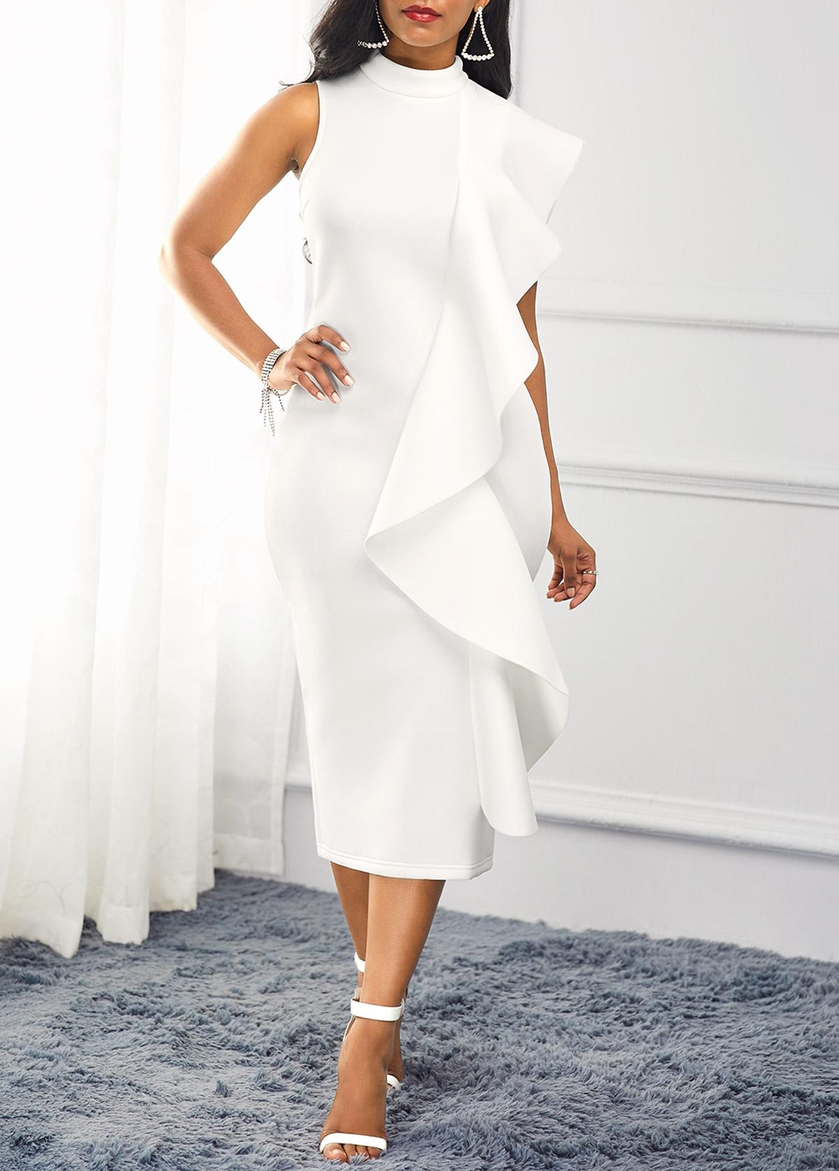 White Mock Neck Ruffle Trim Dress