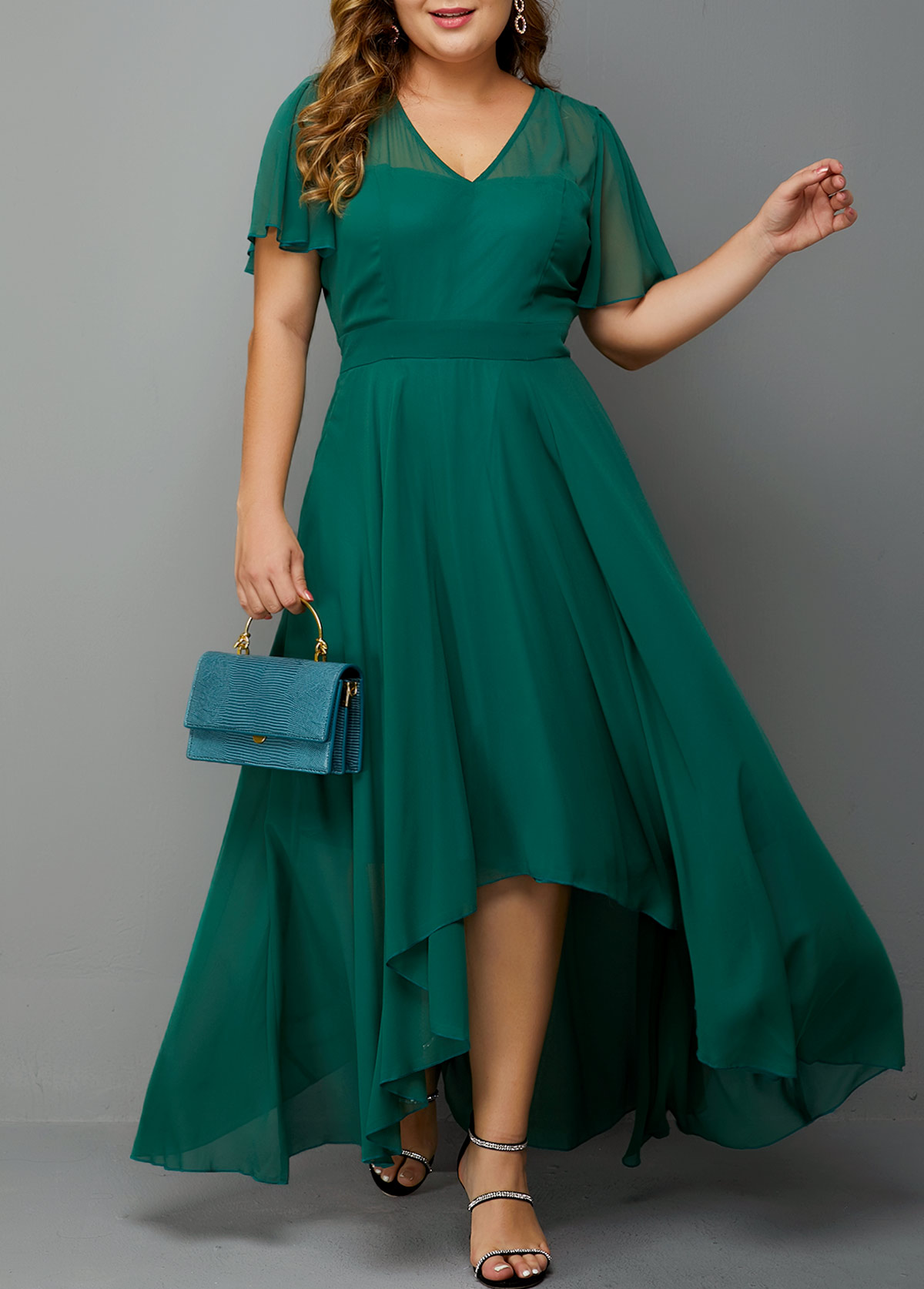 Plus Size High Waist Side Zipper Chiffon Dress
