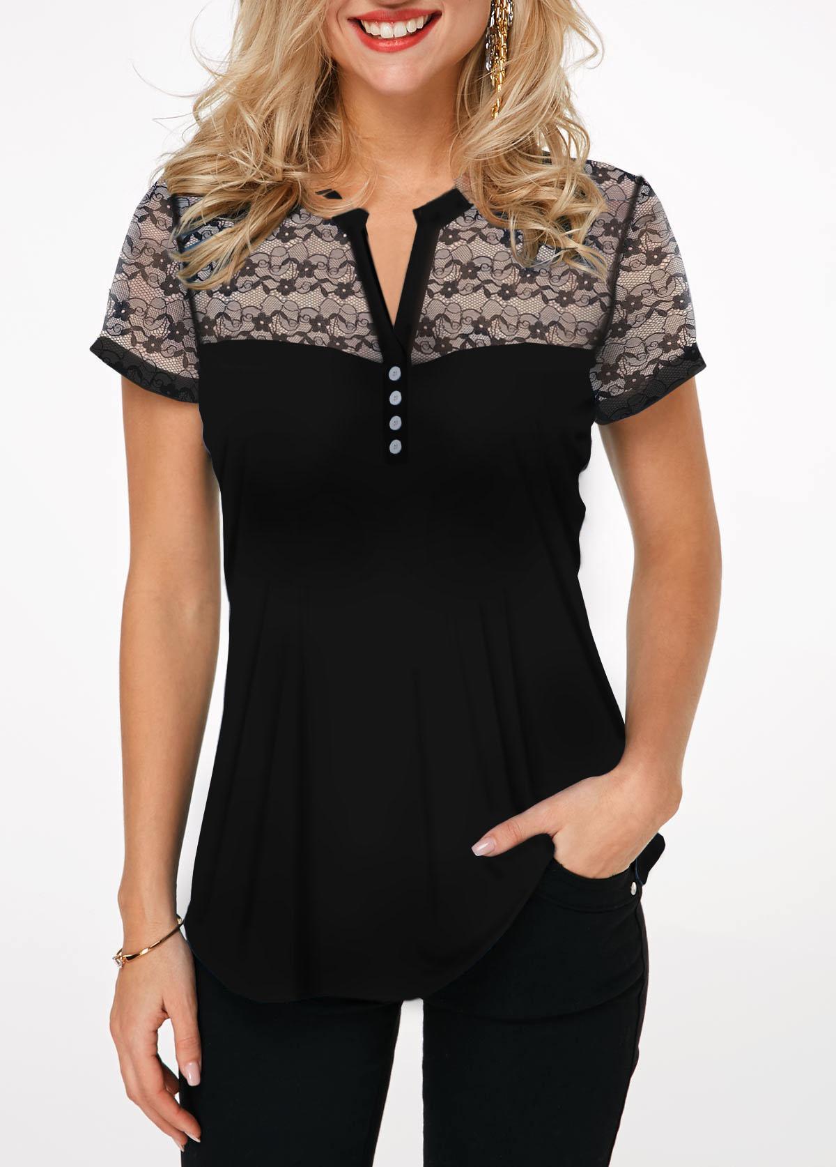 Notch Neck Lace Panel Button Detail T Shirt