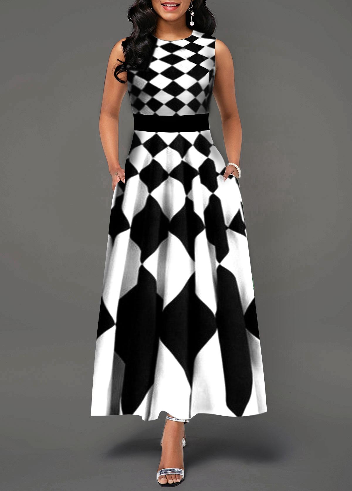 Sleeveless High Waist White Maxi Dress