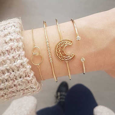 Crescent Shape Gold Metal Bangle Set