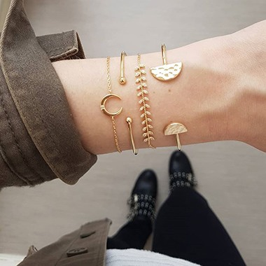 Gold Metal Moon Shape Bracelet Set