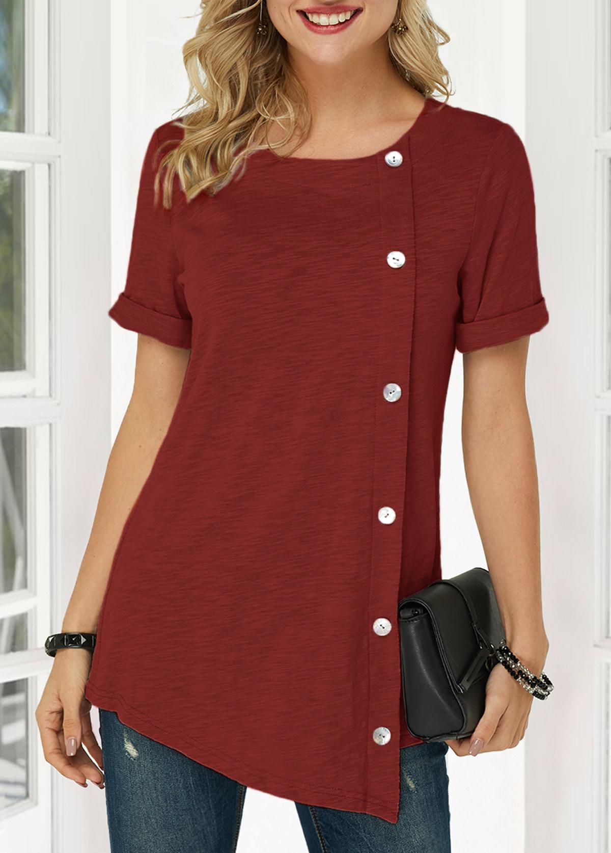 Wine Red Button Detail Asymmetric Hem T Shirt