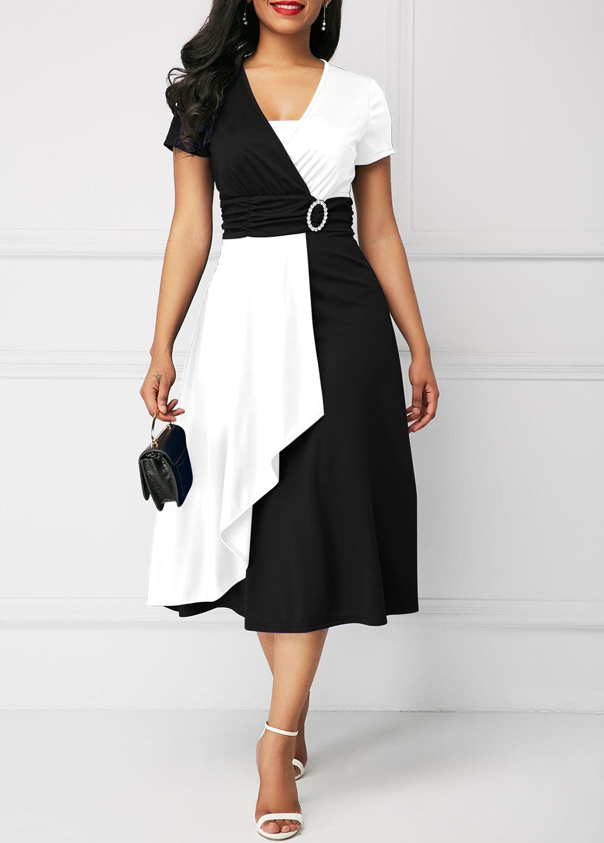 Color Block High Waist Short Sleeve Dress