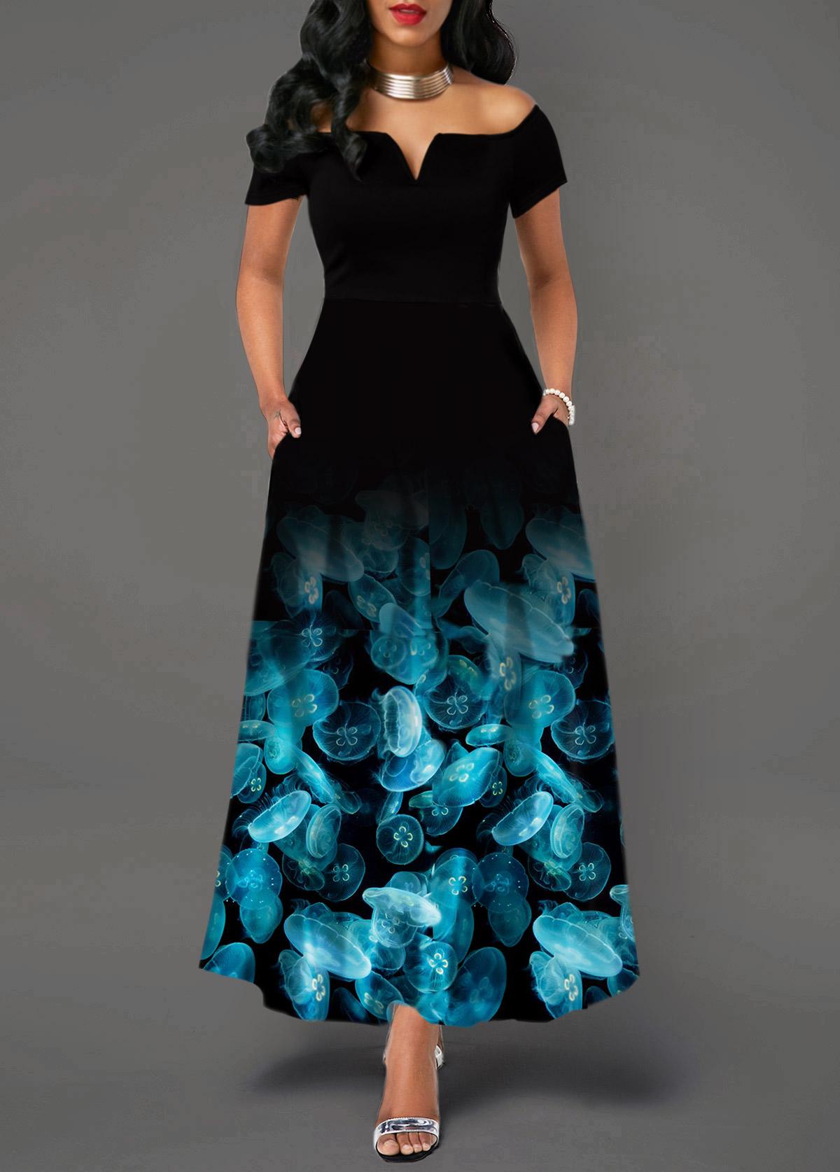 Off the Shoulder High Waist Printed Dress