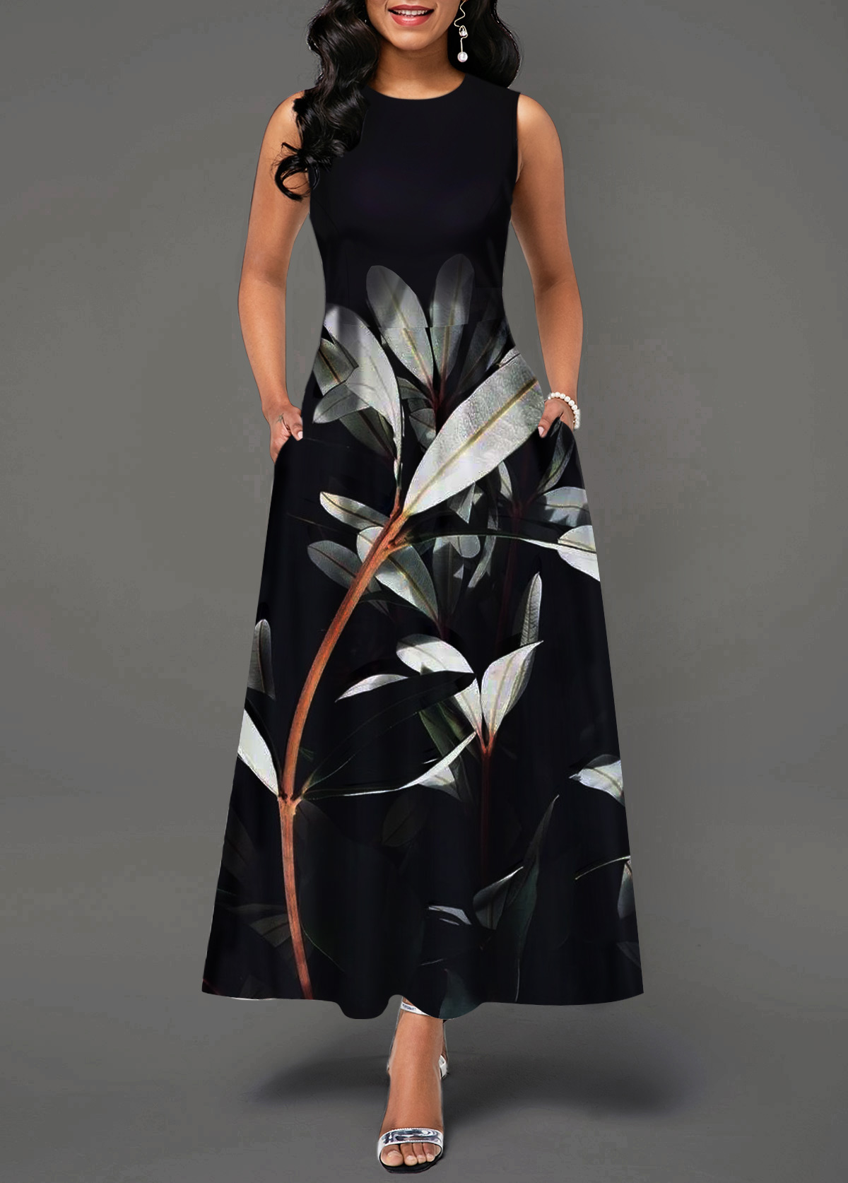 Back Zipper Round Neck Plant Print Maxi Dress