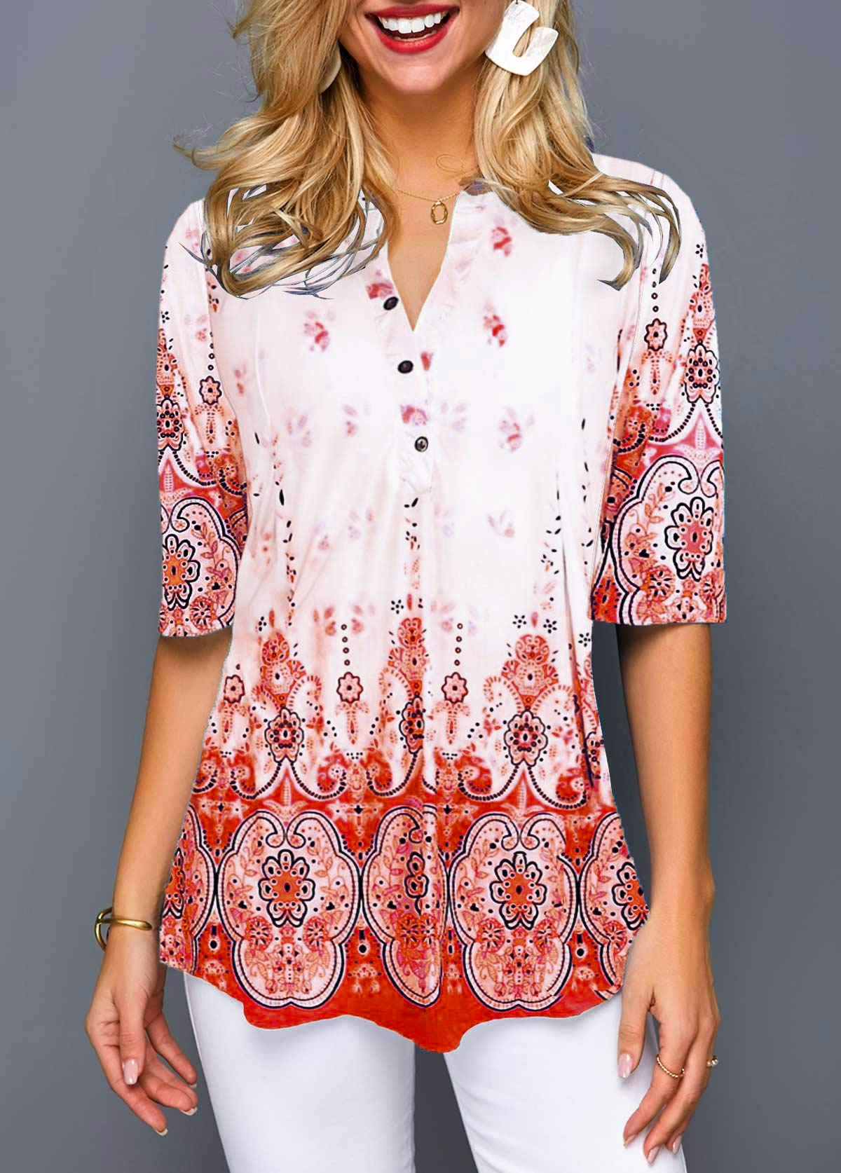 Split Neck Button Detail Tribal Print Blouse