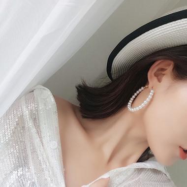 Gold Metal Pearl Embellished Earrings