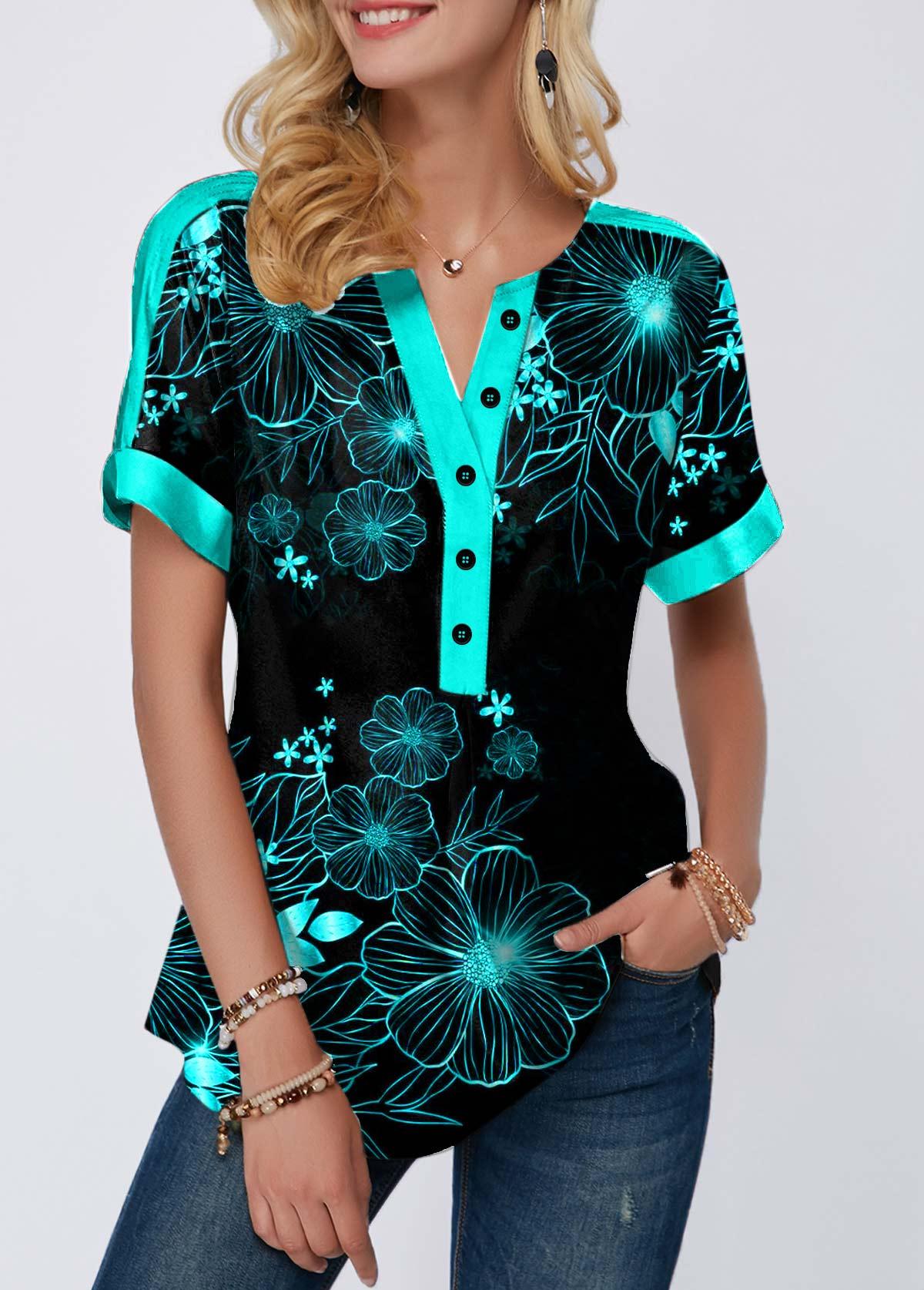 Split Neck Cyan Leaf Print Button Detail T Shirt