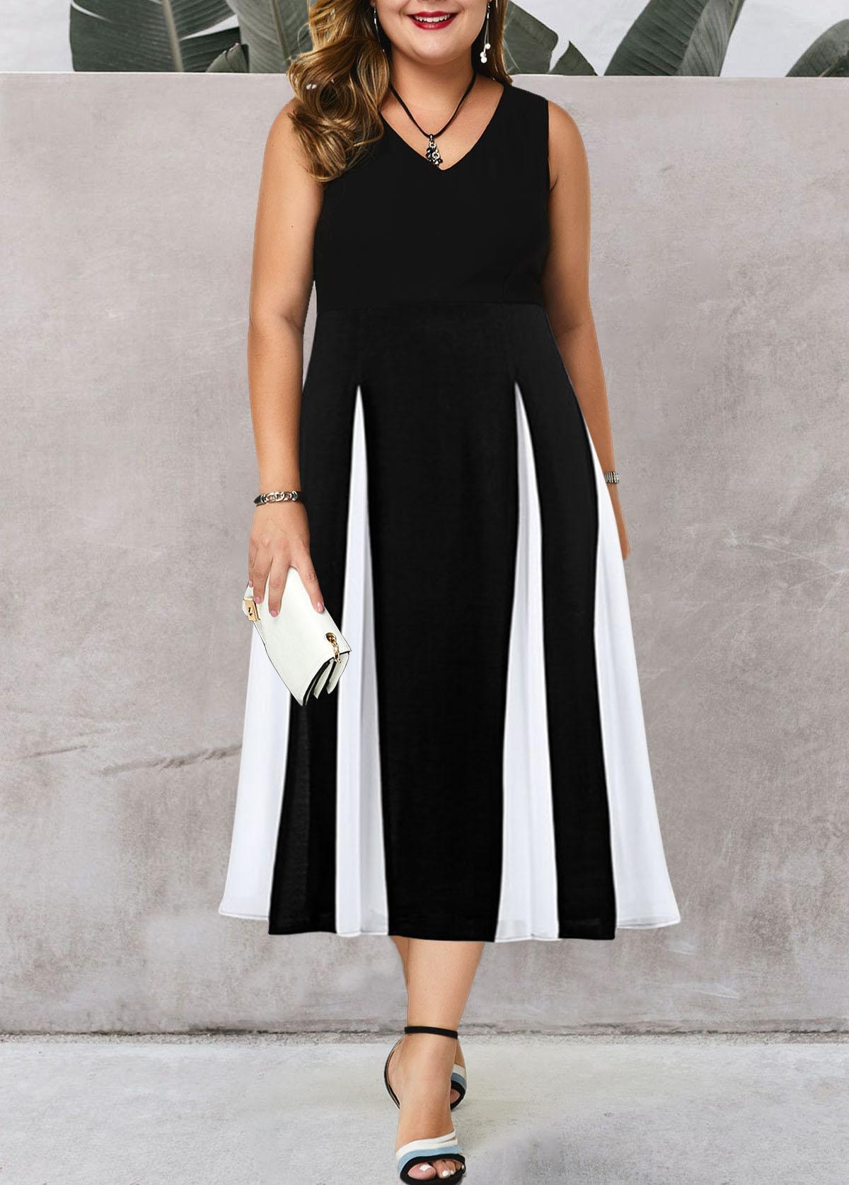 ROTITA Color Block Sleeveless Plus Size High Waist Dress