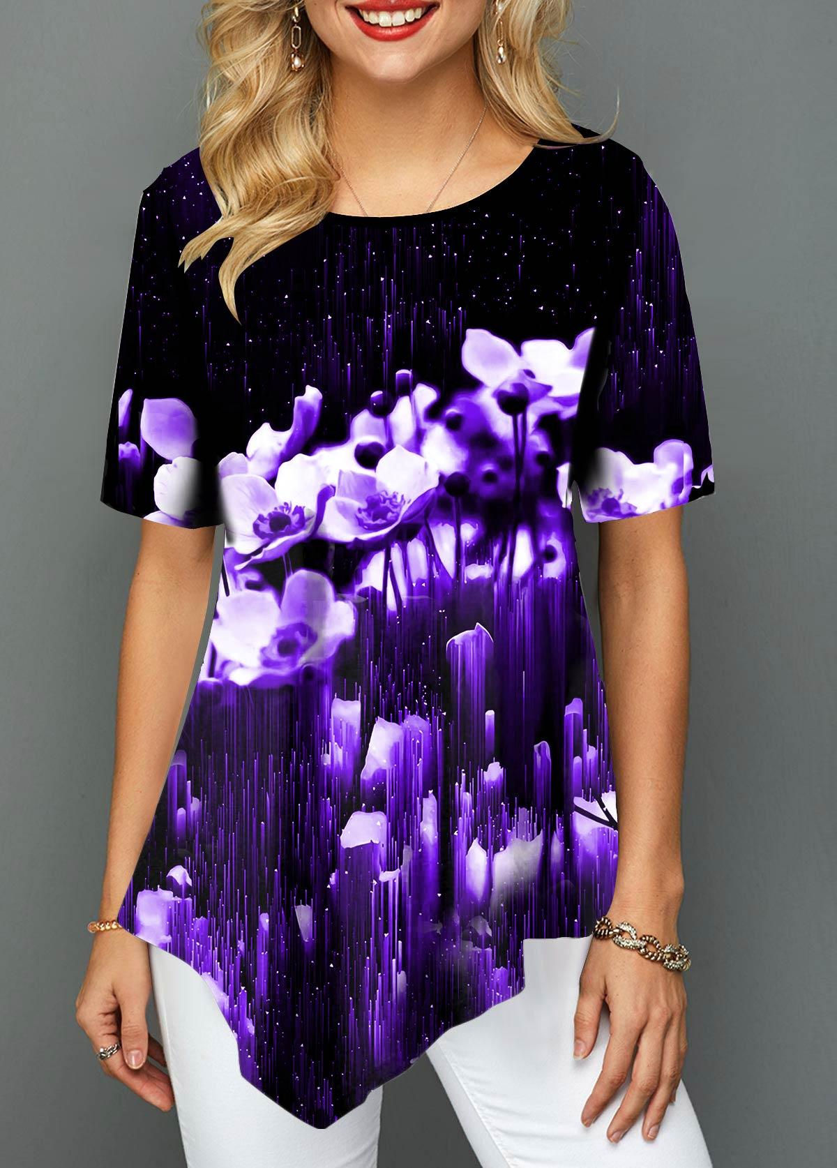 Floral Print Asymmetric Hem Black T Shirt